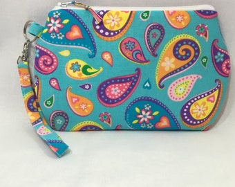 Colorful Paisleys ~ Kendall Wristlet Free Shipping in the US