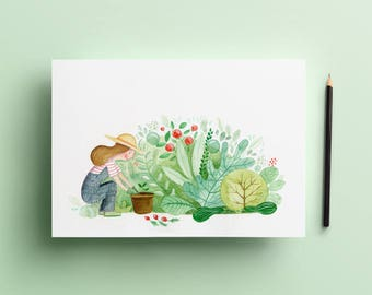 Plants and Dirty Hands - signed and numbered print (illustration)