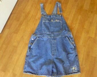 Denim Overalls , work cloths, Bibs 100% cotton women's size large  Shorts