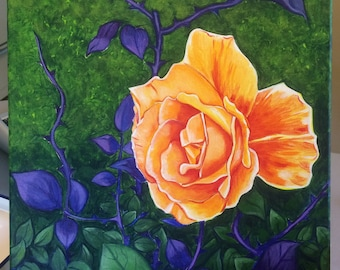 Rose (acrylic painting, painting, flower, floral, garden, thorns, foliage, sunrise, art, perfume, bouquet)