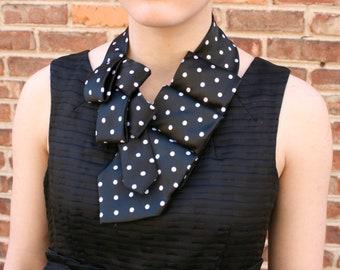 Womens Necktie - Necktie Necklace - Ascot Tie - Gift For Wife - Women's Scarf - Work Wear - Women's Black Polka Dot Lauren Scarf. 22