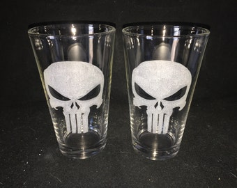Punisher Hand Etched Pint Glasses!