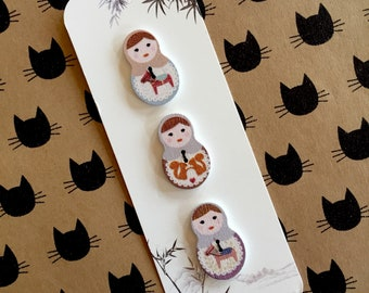 Russian doll babushka decorative wooden buttons for craft and scrapbooking