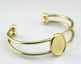 2pcs of brass cuff bracelet for 13x18mm cameo-5501--Matte gold