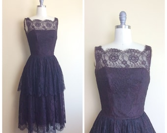 50s Chocolate Brown Lace Tiered Dress / 1950s / Fifties / Vintage Ruffled Sleeveless Lace Illusion Party Dress / Size Small