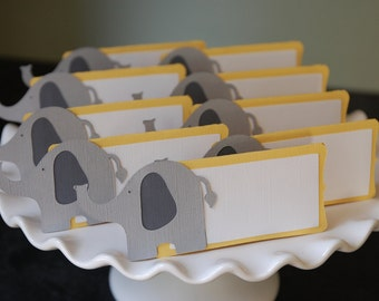 Elephant Place Cards, Elephant Seating Cards, Elephant Food Labels, Elephant  Party Supplies, Whale Theme, Elephant Baby Shower, 12 Pcs