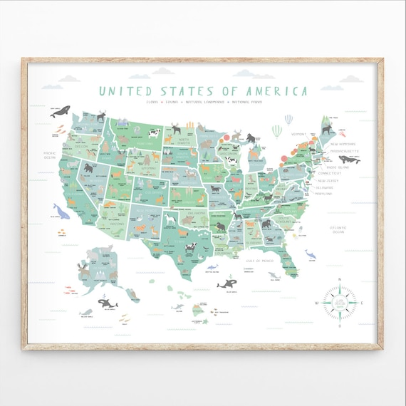 USA map US map wall art Map nursery art My first map Map