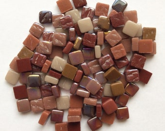 100 8mm Brown Burgundy Gray Mini SQUARES Recycled Glass Mosaic Tiles//Mosaic Supplies//Craft Supplies//Mosaic Pieces//Crafts