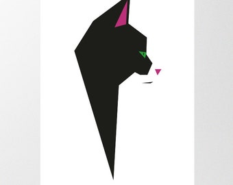 Geometric Cat Print, Instant Download, Black and White Printable Cat Art, Tuxedo Cat Print, Minimalist  Print, Low Poly Cat, Nursery Art
