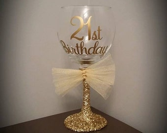 21st Birthday Personalized Glitter Stemmed Wine Glass; Birthday; Celebration; Golden Birthday Gift/Present; Golden Birthday Party Favor
