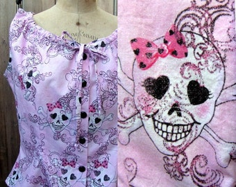 Pink Skull Camisole ~ Skully Top ~ Glitter ~ Pink Polka Dot Bow ~ Black Heart Eyes ~ Button Front ~ Drawstring Neck ~ Medium ~ McCall's 8006