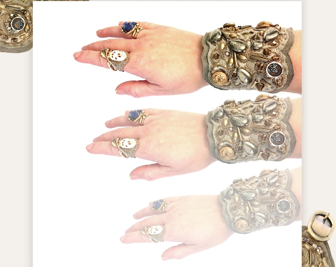 Featured listing image: THE SHIELD BRACELET by Gilded-Mane : Leather & Lace Cuff in Bronze and Grey