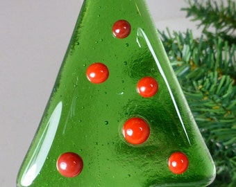 Fused Glass Christmas Tree in Green with Red glass bauble decorations and a white and red stripe base