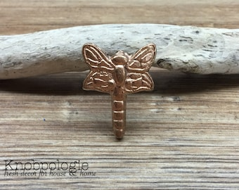 Metallic Copper Dragonfly Knob - Cabinet Knob Lighting Bug Dragon Fly Drawer Pull - Cast Iron Knob - Nature Nursery Decor