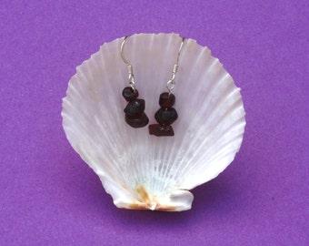 Garnet gemstone earrings, Sterling silver earrings, Hypoallergenic earrings, Red earrings, Aquarius Capricorn Virgo zodiac birthstone