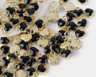 Heart Charms Enamel Charms Gold Heart Charms Tiny Heart Charms Black Heart Charms Black Enamel Charms Gold Charms 6pcs