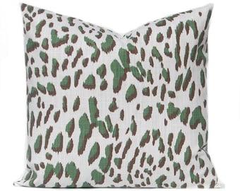 Dark Green Euro Pillow Cover - Leopard Throw Pillow Cover - Animal - Green and White - Sofa Pillow Covers - Green Pillow Shams