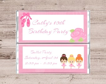 Ballet Birthday Party Chocolate Wrapper-Birthday Party Candy Wrapper-Ballet Candy Wrappers-Girls Birthday Party Wrapper-Custom Wrappers