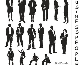 Buy 2 Get 1 Free Business People Digital Clip Art Silhouettes Design man and woman Business people to Present party for scrapbooking,Prints