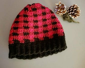 Crochet plaid slouchy hat