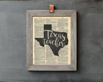 Texas Teacher - Vintage Dictionary Print