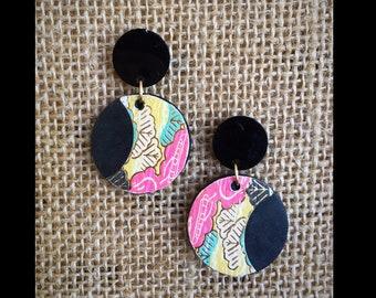 Recycled Dangle Earrings Black Pink Yellow Paper Handmade Japan