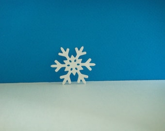 White snowflakes cut foam for creation for Christmas, 4 cm diameter