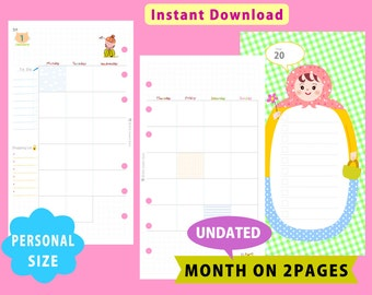 PRINTABLE Personal (Medium) Size, Undated Monthly Planner, Month On Two Pages, Filofax, Kikkik, Instant Download