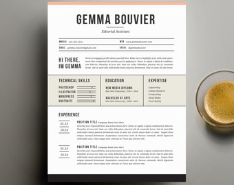 Creative Resume Template and Cover Letter Template for Word   Digital Instant Download   DIY Printable 4 Pack   The Gemma   Optional Page 2