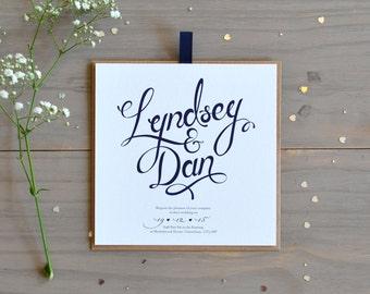 Calligraphy Evening Wedding Invitation, Navy and Grey
