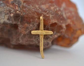 Gold Cross Necklace Solid 18k Gold Cross Mens Cross Necklace Women Gold Baptism Cross Confirmation Cross Communion Cross Minimal Gold Cross