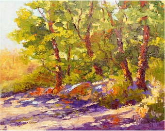 Impressionist tree painting, Oil Landscape Painting - Provence oak trees with shadows and light, 10x12inch, gift for him,