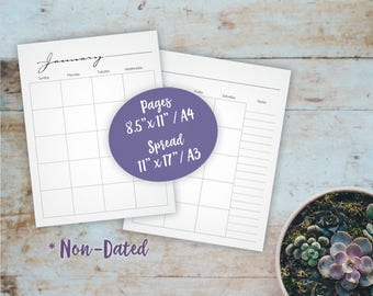Whimsical Printable Monthly Planner Spread - Blank Calendar Non-Dated - A4, Letter size Calendar - Business Planner, Family Schedule Planner