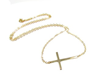 Selena Gomez Sideways Cross Necklace, Gold Filled, Celebrity Inspired