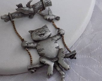 """Vintage brooch, signed """"JJ"""" """"Swinging cat with 2 birds"""" articulated brooch, fun and funky brooch"""