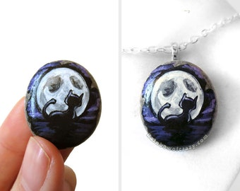 Black Cat Pendant, Full Moon Necklace, Pet Jewelry, Animal Painting, Hand Painted Rock Art, Pet Keepsake, Cat Owner Gift for Her