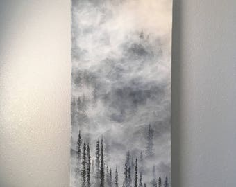 """Original Foggy Forest Painting, Black and White, Trees, Nature, Landscape  18"""" x 36"""""""