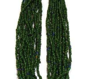 Vintage Green Multi Strand Beaded Necklace