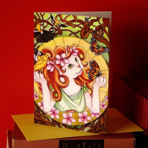 Art Nouveau Spring Goddess Cat Greeting Card