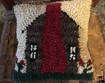 Log Cabin Hand Punched/Hooked Pillow