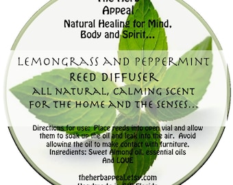 Lemongrass and Peppermint Reed Diffuser Set, Available in Many Scents, Natural Home, Healthy Living, Refreshing, Long Lasting, Lovely Gift