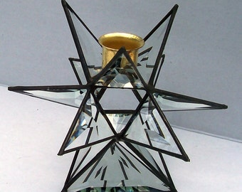 Beveled Glass Moravian Star Candleholder, Table Ornament, Geometric Candleholder, Home Decor, 12 Point Stained Glass, Star Candle Holder