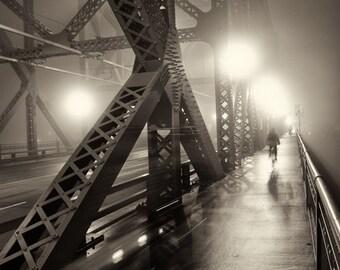 Portland Broadway Bridge Cyclists / Photograph / Fine Art