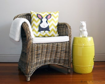 Throw pillow cushion. Rabbit pillow. woodland Nursery decor, children's play area. Professionally printed soft fabric with zipper