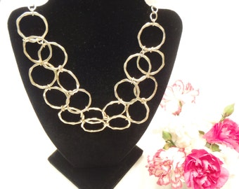 Adjustable Silver Geometric Handmade Hammered Circle Necklace Up to 20 Inches