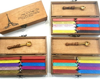 20 WAX SEAL STICKS with Wax Spoon in Complete Sealing Wax Giftbox Vintage Wood Box, Fast Shipping From Utah.