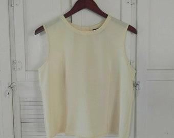 Yellow Sleeveless Cropped Top Pastel Pale Yellow Silk Rayon Blend Fabric Pastel Top Size Medium Sheer Feminine Summer Tank Top