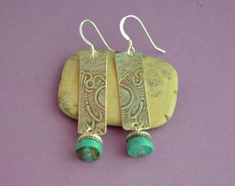 Embossed Silver Earrings with Turquoise Nuggets