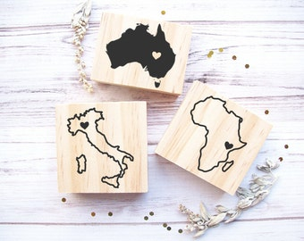 Continent or Country Stamp - Any Geographical Shape of Your Choice - Africa Italy Australia USA Mexico Spain Brazil France Islands