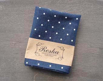 Navy blue linen pocket square in white dot, groomsmen gift, wedding pocket squares for men, boys pocket squares, blue linen handkerchief
